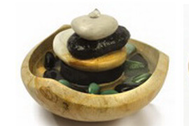 fountain triple stone natural pebble zen water feature